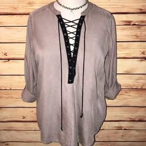 Express Stone/Black Distressed Lace Up Top
